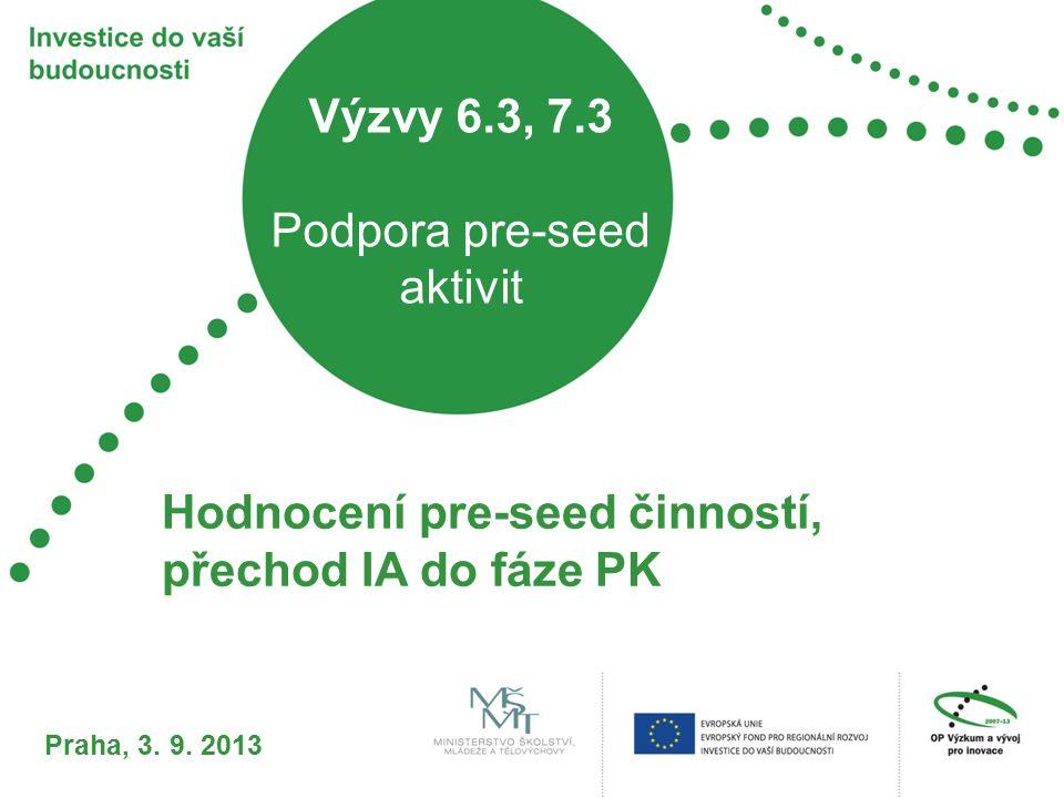 Výzvy 6.3, 7.3 Podpora pre-seed aktivit Hodnocení pre-seed činností, přechod IA do fáze PK Praha, 3. 9. 2013