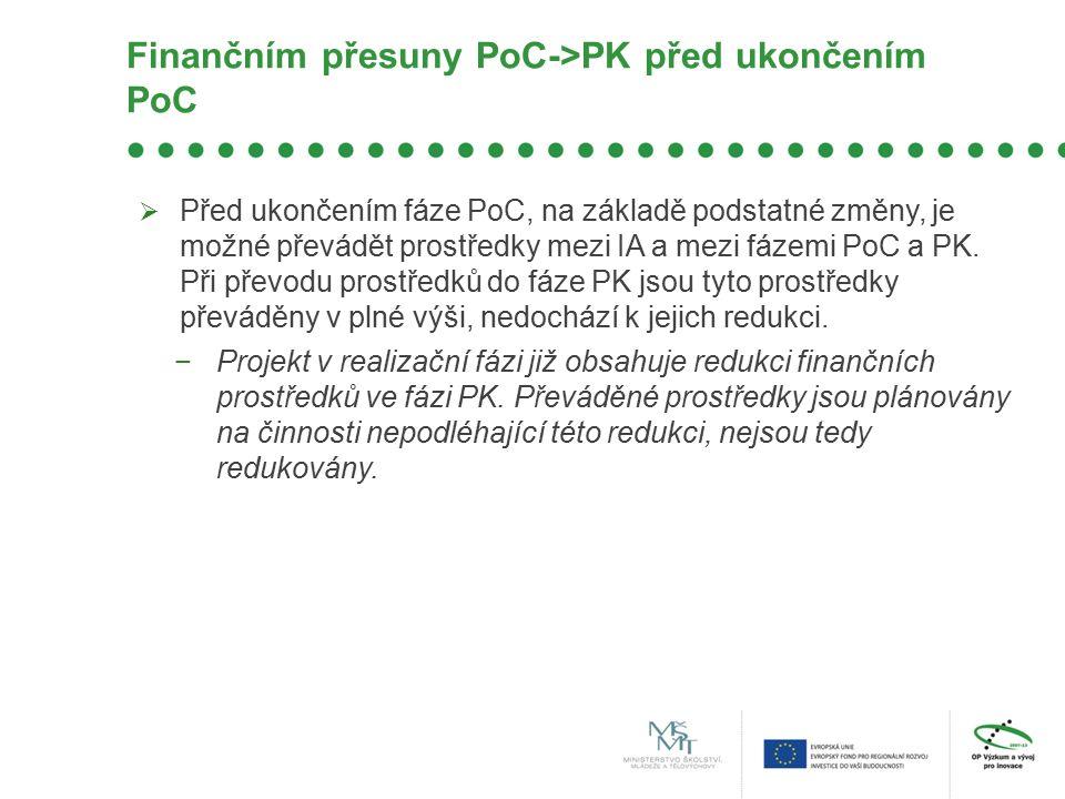 Finančním přesuny PoC->PK před ukončením PoC  Před ukončením fáze PoC, na základě podstatné změny, je možné převádět prostředky mezi IA a mezi fázemi PoC a PK.