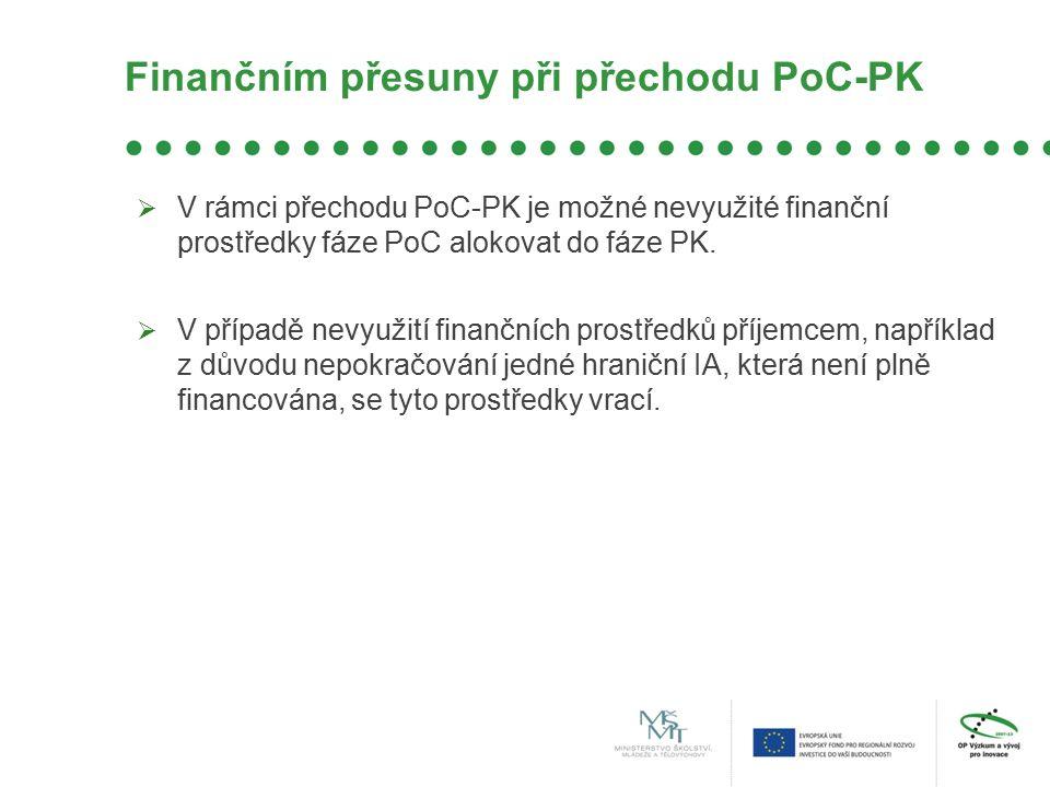 Finančním přesuny při přechodu PoC-PK  V rámci přechodu PoC-PK je možné nevyužité finanční prostředky fáze PoC alokovat do fáze PK.