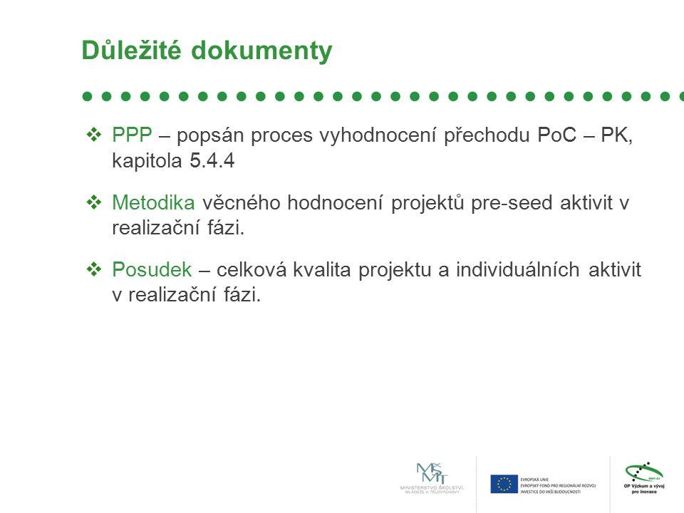 Důležité dokumenty  PPP – popsán proces vyhodnocení přechodu PoC – PK, kapitola 5.4.4  Metodika věcného hodnocení projektů pre-seed aktivit v realizační fázi.