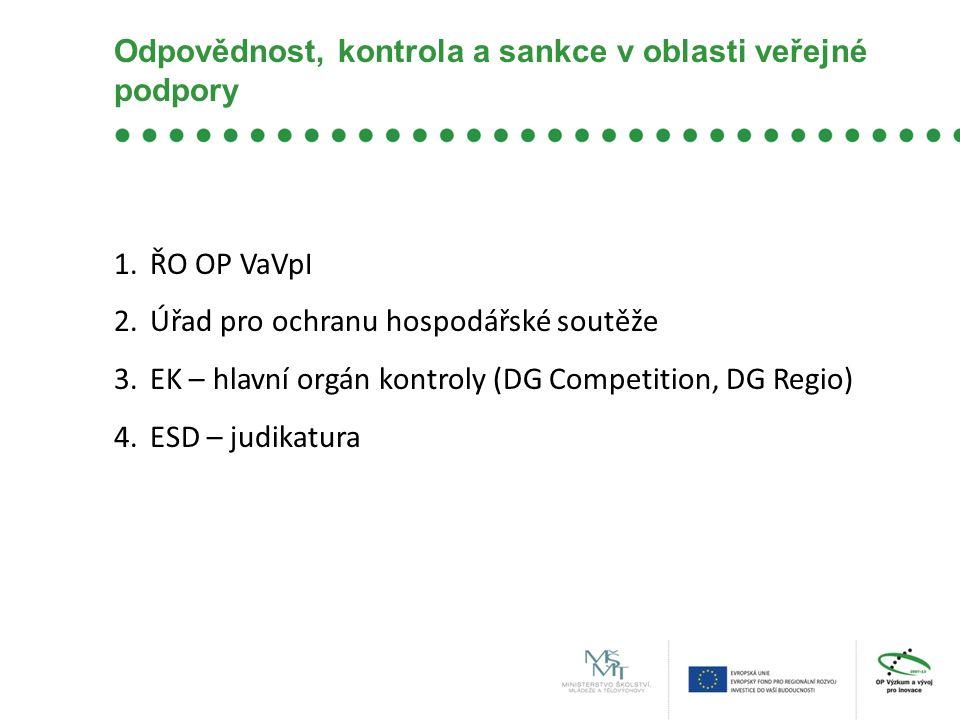 Odpovědnost, kontrola a sankce v oblasti veřejné podpory 1.ŘO OP VaVpI 2.Úřad pro ochranu hospodářské soutěže 3.EK – hlavní orgán kontroly (DG Competi