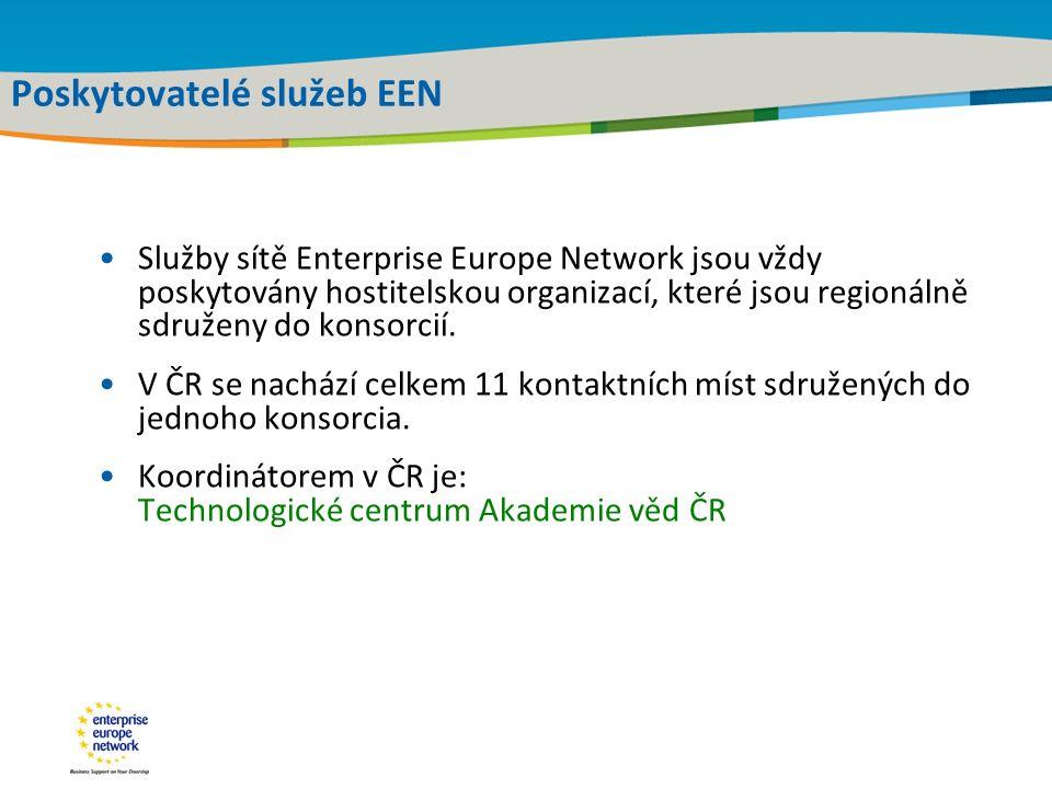 Title of the presentation | Date |‹#› Poskytovatelé služeb EEN Služby sítě Enterprise Europe Network jsou vždy poskytovány hostitelskou organizací, které jsou regionálně sdruženy do konsorcií.