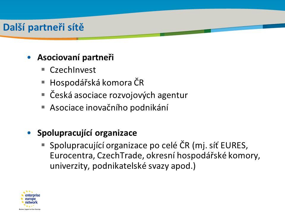 Title of the presentation | Date |‹#› Další partneři sítě Asociovaní partneři  CzechInvest  Hospodářská komora ČR  Česká asociace rozvojových agent