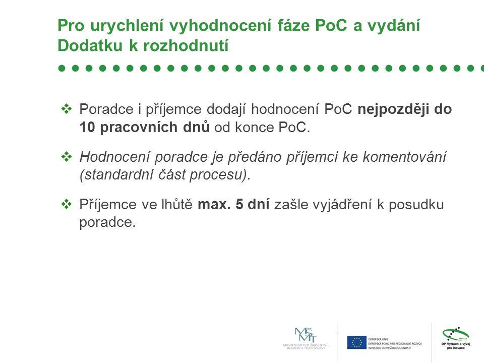 Pro urychlení vyhodnocení fáze PoC a vydání Dodatku k rozhodnutí  Poradce i příjemce dodají hodnocení PoC nejpozději do 10 pracovních dnů od konce PoC.