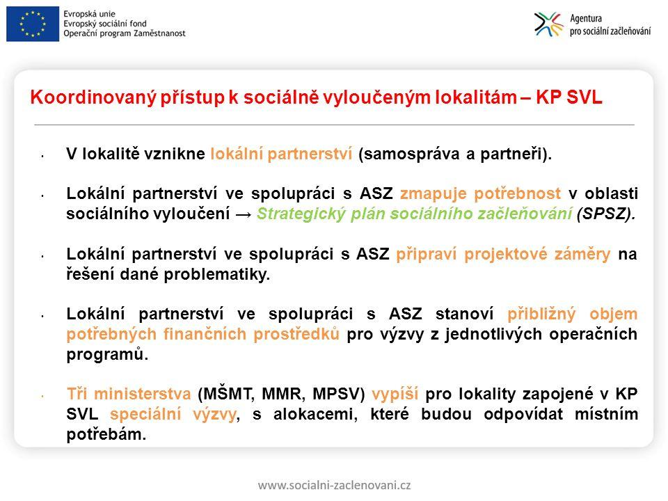 Koordinovaný přístup k sociálně vyloučeným lokalitám – KP SVL V lokalitě vznikne lokální partnerství (samospráva a partneři). Lokální partnerství ve s