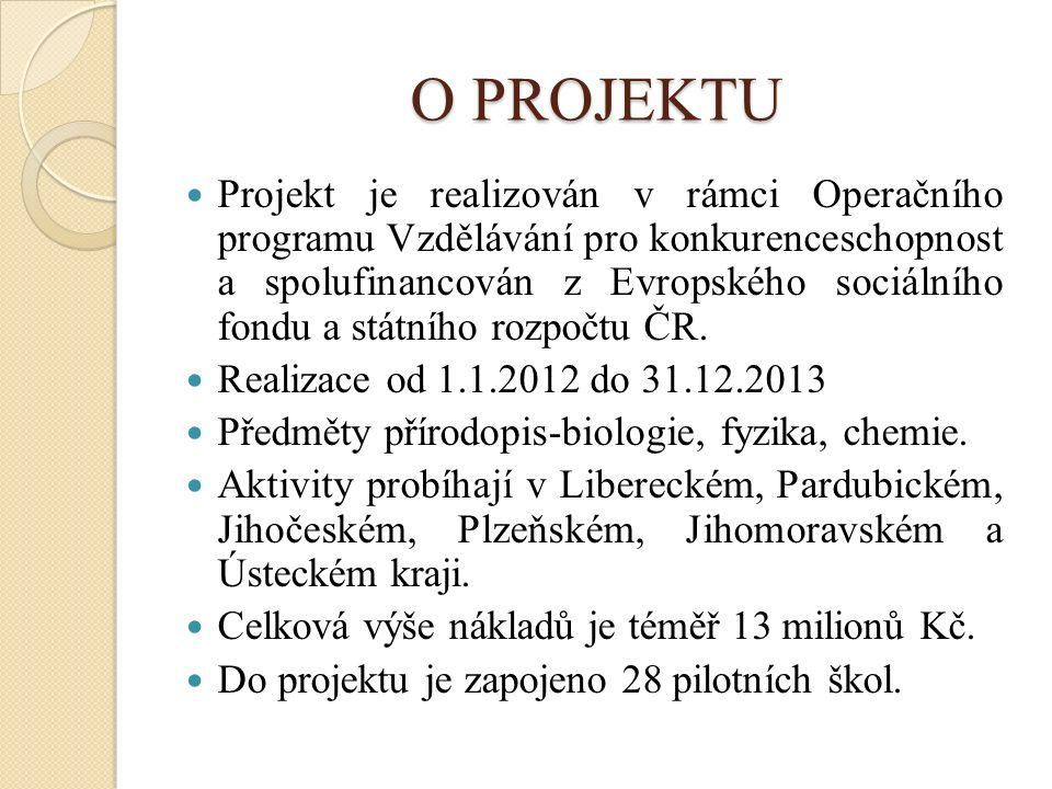 O PROJEKTU Projekt je realizován v rámci Operačního programu Vzdělávání pro konkurenceschopnost a spolufinancován z Evropského sociálního fondu a státního rozpočtu ČR.