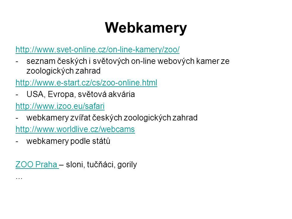 Webkamery http://www.svet-online.cz/on-line-kamery/zoo/ -seznam českých i světových on-line webových kamer ze zoologických zahrad http://www.e-start.cz/cs/zoo-online.html -USA, Evropa, světová akvária http://www.izoo.eu/safari -webkamery zvířat českých zoologických zahrad http://www.worldlive.cz/webcams -webkamery podle států ZOO Praha ZOO Praha – sloni, tučňáci, gorily...