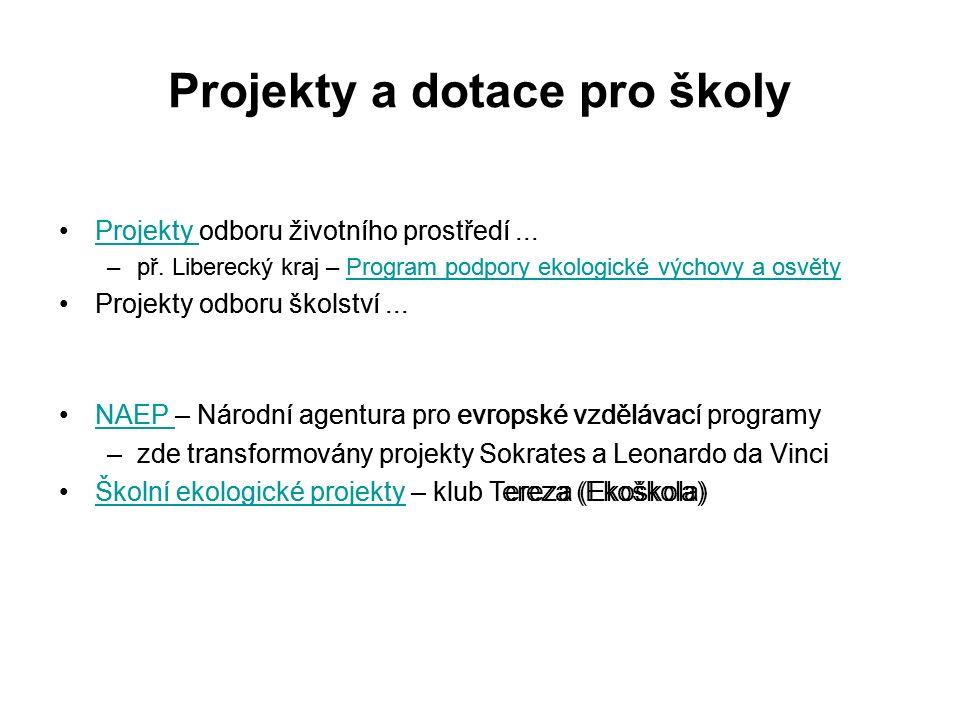 Projekty a dotace pro školy Projekty odboru životního prostředí...Projekty –př.