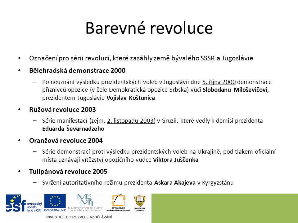 Barevné revoluce Označení pro sérii revolucí, které zasáhly země bývalého SSSR a Jugoslávie Bělehradská demonstrace 2000 – Po neuznání výsledku prezidentských voleb v Jugoslávii dne 5.