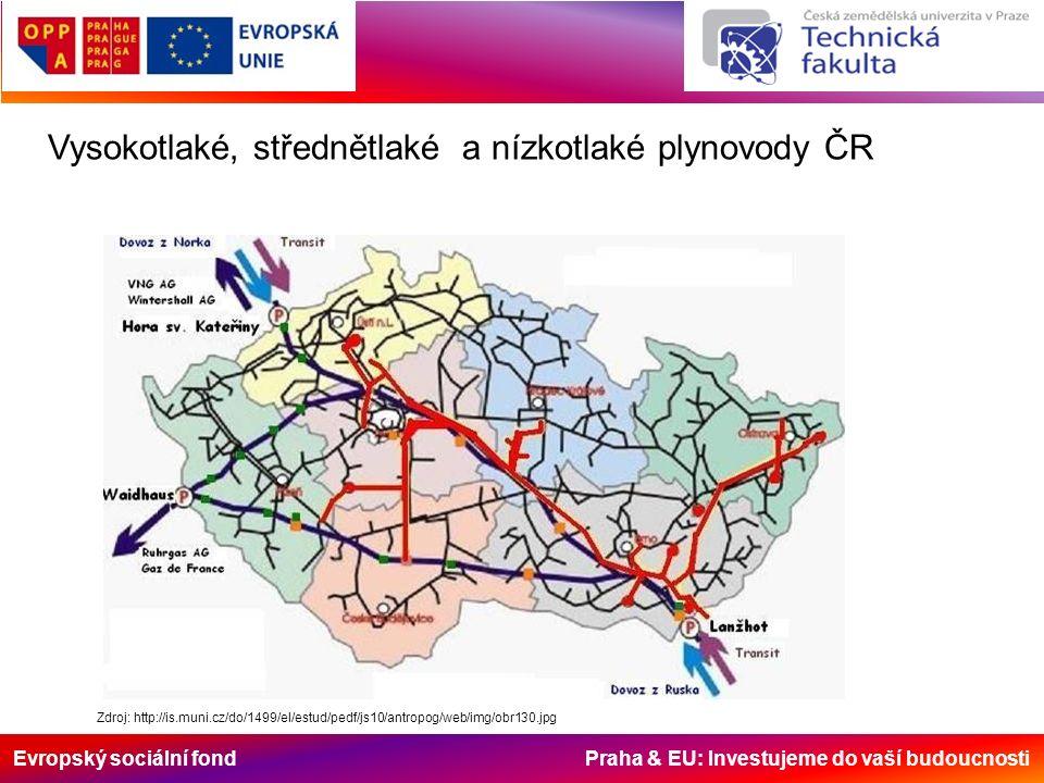 Evropský sociální fond Praha & EU: Investujeme do vaší budoucnosti Zdroj: http://is.muni.cz/do/1499/el/estud/pedf/js10/antropog/web/img/obr130.jpg Vysokotlaké, střednětlaké a nízkotlaké plynovody ČR