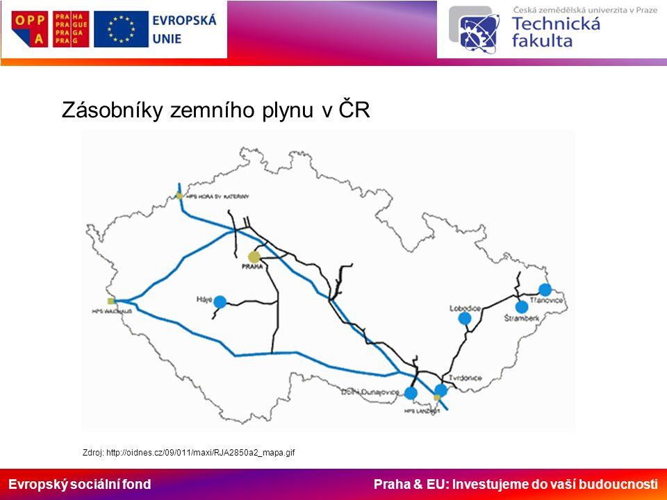 Evropský sociální fond Praha & EU: Investujeme do vaší budoucnosti Zdroj: http://oidnes.cz/09/011/maxi/RJA2850a2_mapa.gif Zásobníky zemního plynu v ČR