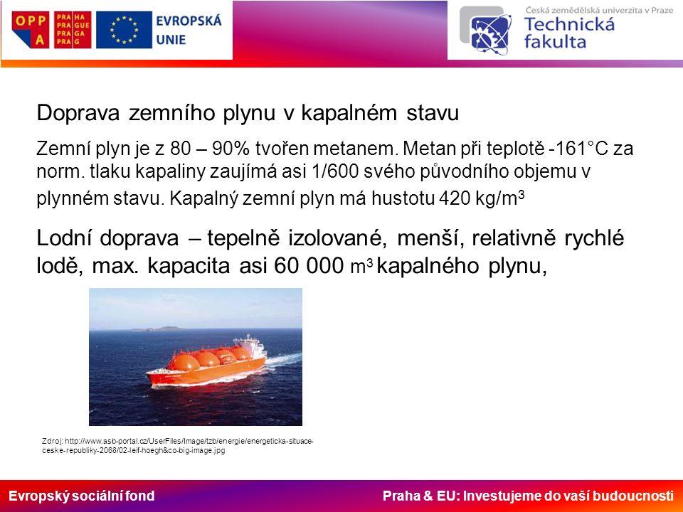 Evropský sociální fond Praha & EU: Investujeme do vaší budoucnosti Doprava zemního plynu v kapalném stavu Zemní plyn je z 80 – 90% tvořen metanem.