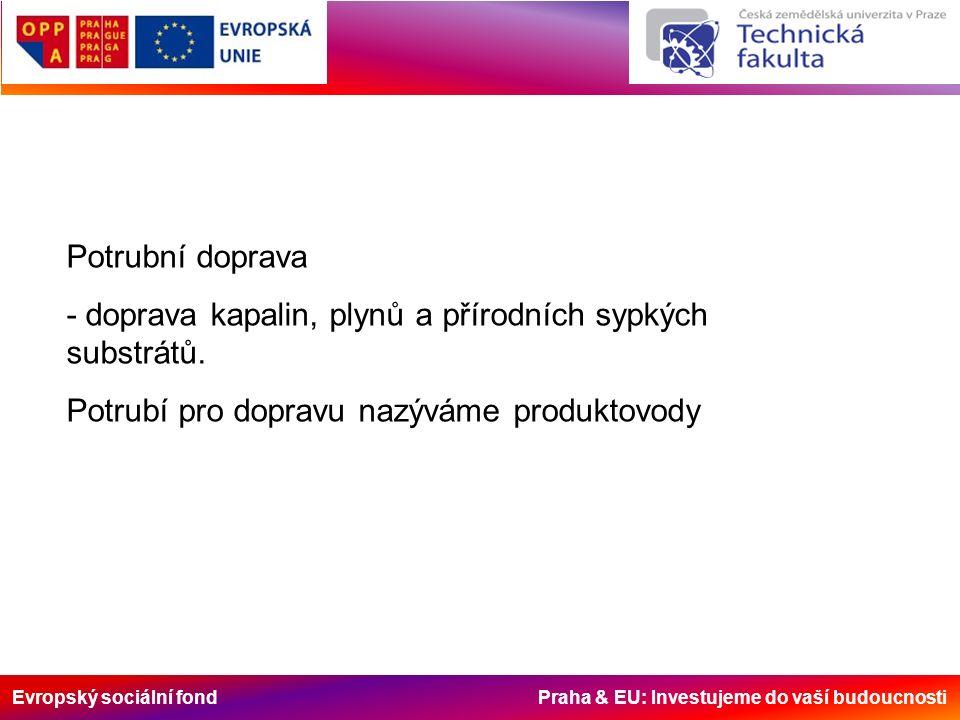 Evropský sociální fond Praha & EU: Investujeme do vaší budoucnosti Doprava produktovody: - výhody - vysoké využití dopravního prostoru – celý průměr potrubí - snadné plnění a vyprázdňování - doprava čerpadly - nemožnost změny dopravní cesty - návaznost na určité zdroje - malá rychlost dopravy – 4 až 8 km/h - různé druhy např.