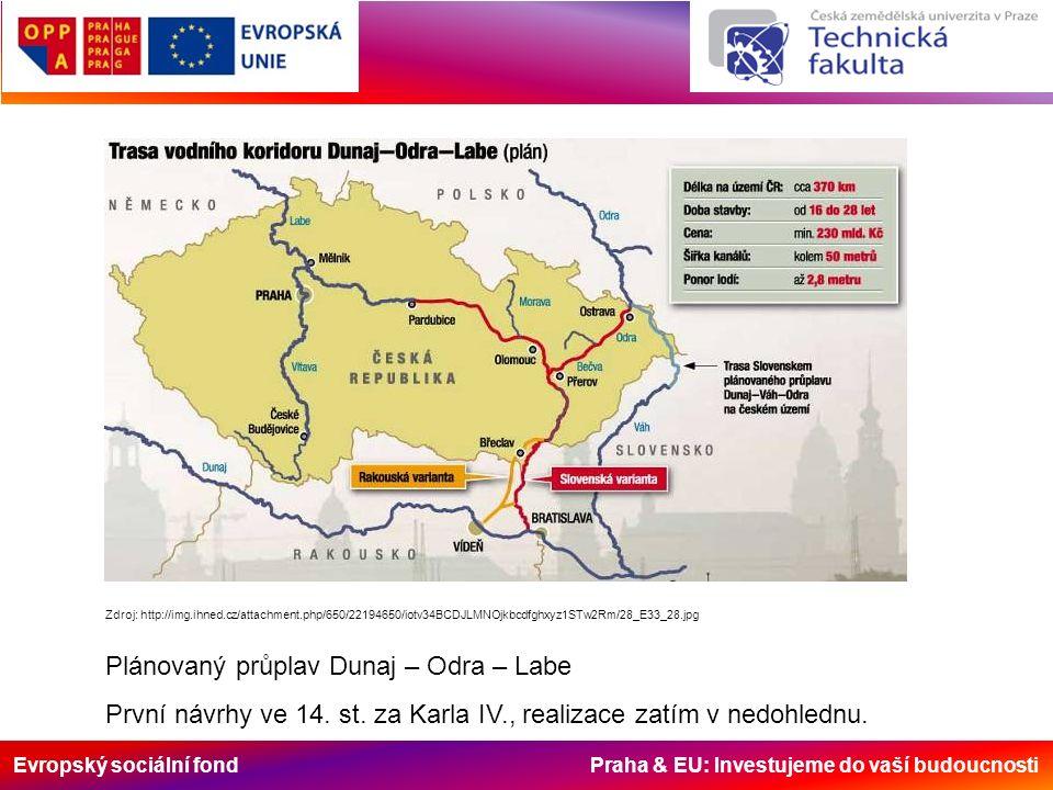 Evropský sociální fond Praha & EU: Investujeme do vaší budoucnosti Zdroj: http://img.ihned.cz/attachment.php/650/22194650/iotv34BCDJLMNOjkbcdfghxyz1STw2Rm/28_E33_28.jpg Plánovaný průplav Dunaj – Odra – Labe První návrhy ve 14.