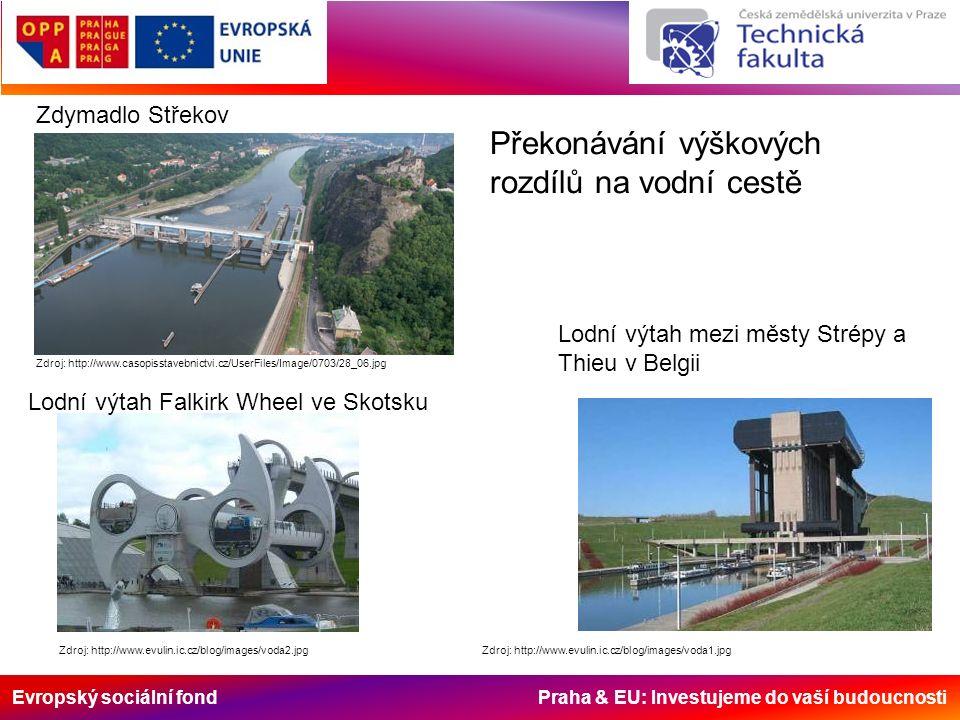 Evropský sociální fond Praha & EU: Investujeme do vaší budoucnosti Zdroj: http://www.evulin.ic.cz/blog/images/voda1.jpg Lodní výtah mezi městy Strépy
