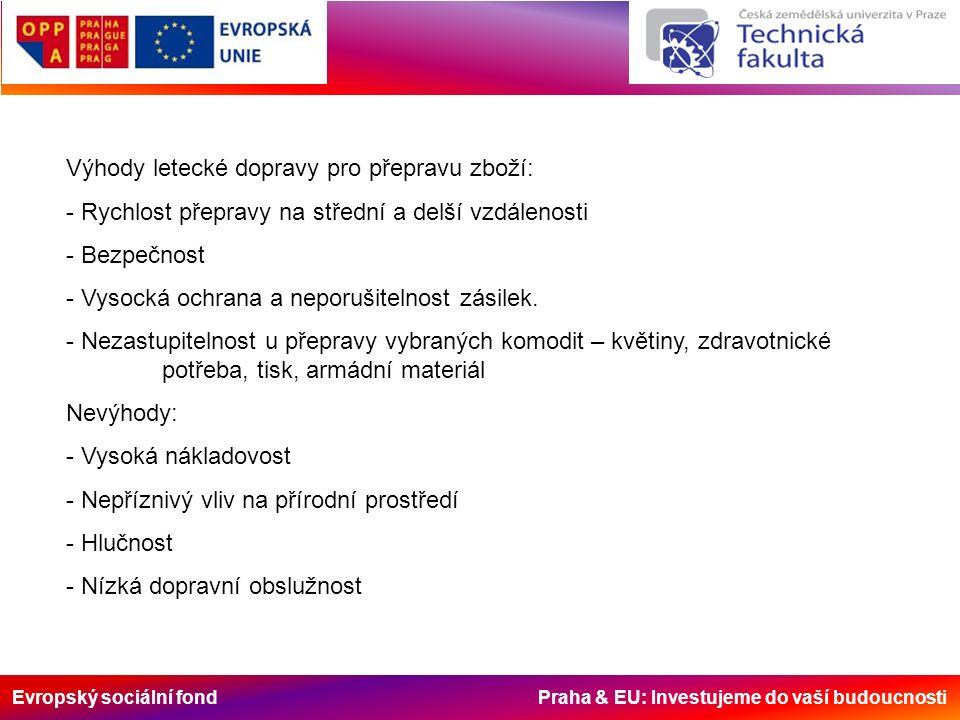 Evropský sociální fond Praha & EU: Investujeme do vaší budoucnosti Výhody letecké dopravy pro přepravu zboží: - Rychlost přepravy na střední a delší vzdálenosti - Bezpečnost - Vysocká ochrana a neporušitelnost zásilek.