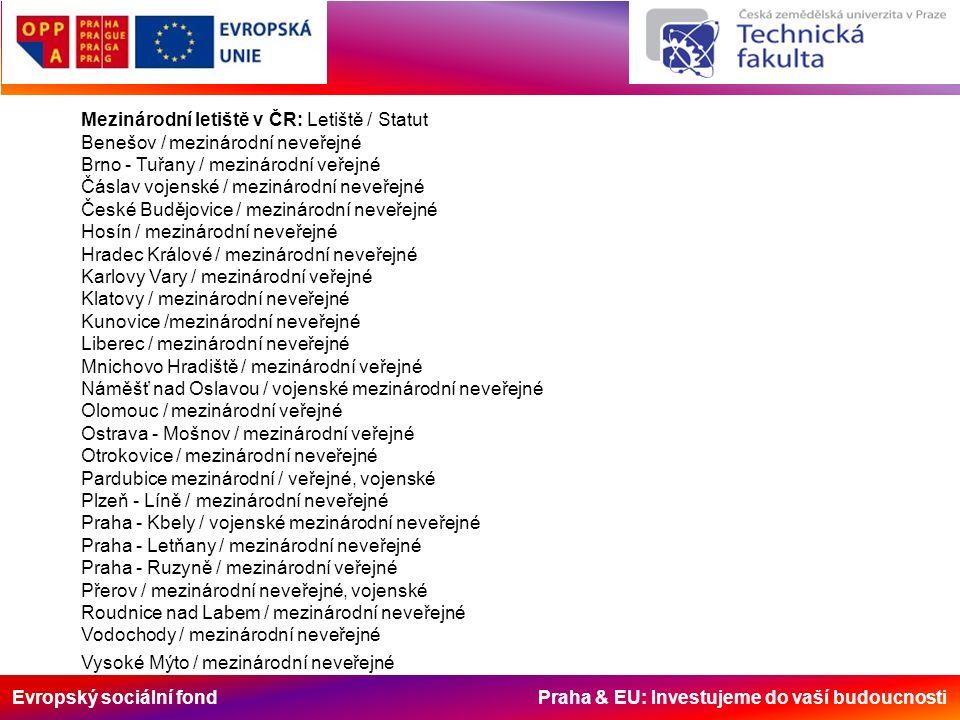 Evropský sociální fond Praha & EU: Investujeme do vaší budoucnosti Mezinárodní letiště v ČR: Letiště / Statut Benešov / mezinárodní neveřejné Brno - T