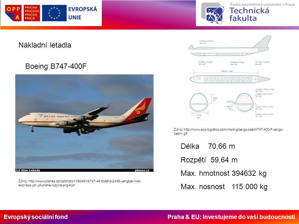 Evropský sociální fond Praha & EU: Investujeme do vaší budoucnosti Nákladní letadla Boeing B747-400F Zdroj: http://www.acp-logistics.com/inc/img/cargo-cabin/747-400-F-cargo- cabin.gif Zdroj: http://www.planes.cz/cs/photo/1160491/b747-481bdsf-b-2435-yangtze-river- express-yzr-y8-praha-ruzyne-prg-lkpr/ Délka 70,66 m Rozpětí 59,64 m Max.