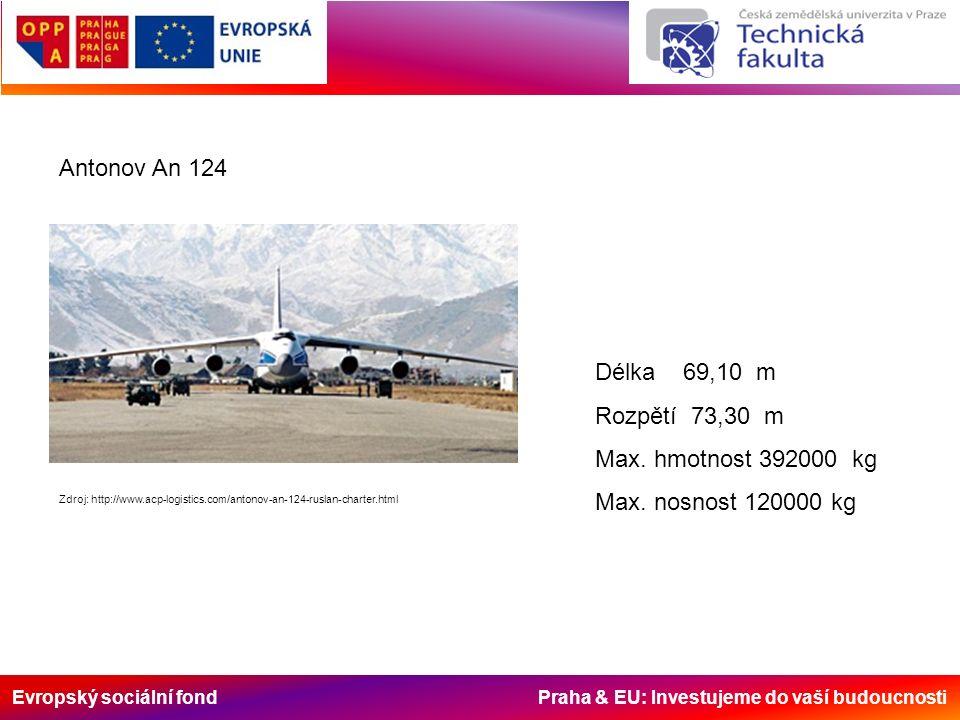 Evropský sociální fond Praha & EU: Investujeme do vaší budoucnosti Antonov An 124 Zdroj: http://www.acp-logistics.com/antonov-an-124-ruslan-charter.ht
