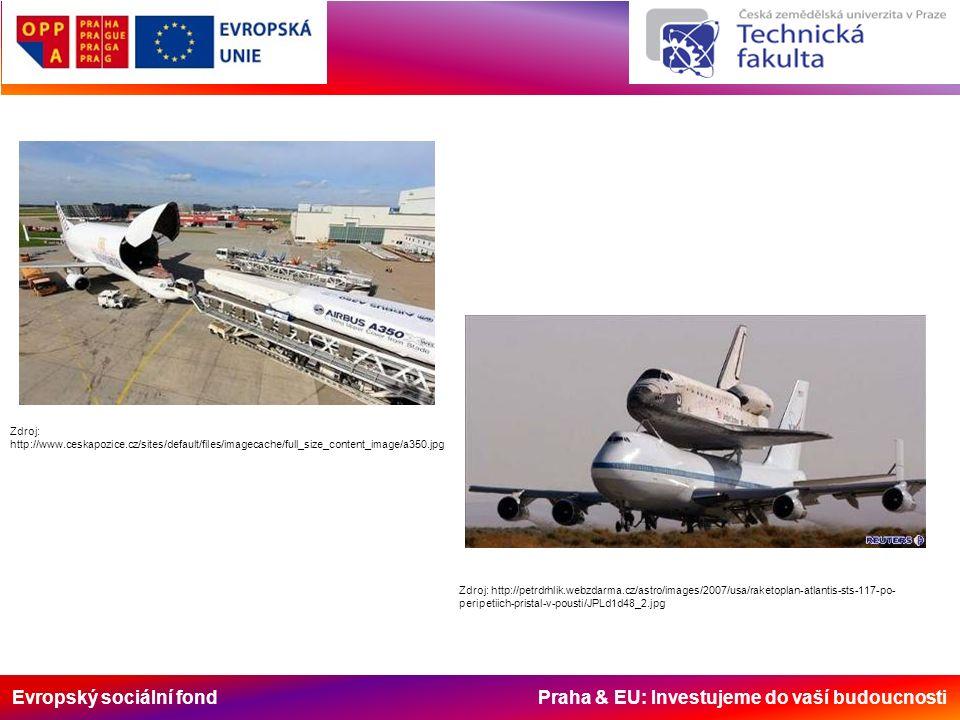 Evropský sociální fond Praha & EU: Investujeme do vaší budoucnosti Zdroj: http://www.ceskapozice.cz/sites/default/files/imagecache/full_size_content_image/a350.jpg Zdroj: http://petrdrhlik.webzdarma.cz/astro/images/2007/usa/raketoplan-atlantis-sts-117-po- peripetiich-pristal-v-pousti/JPLd1d48_2.jpg