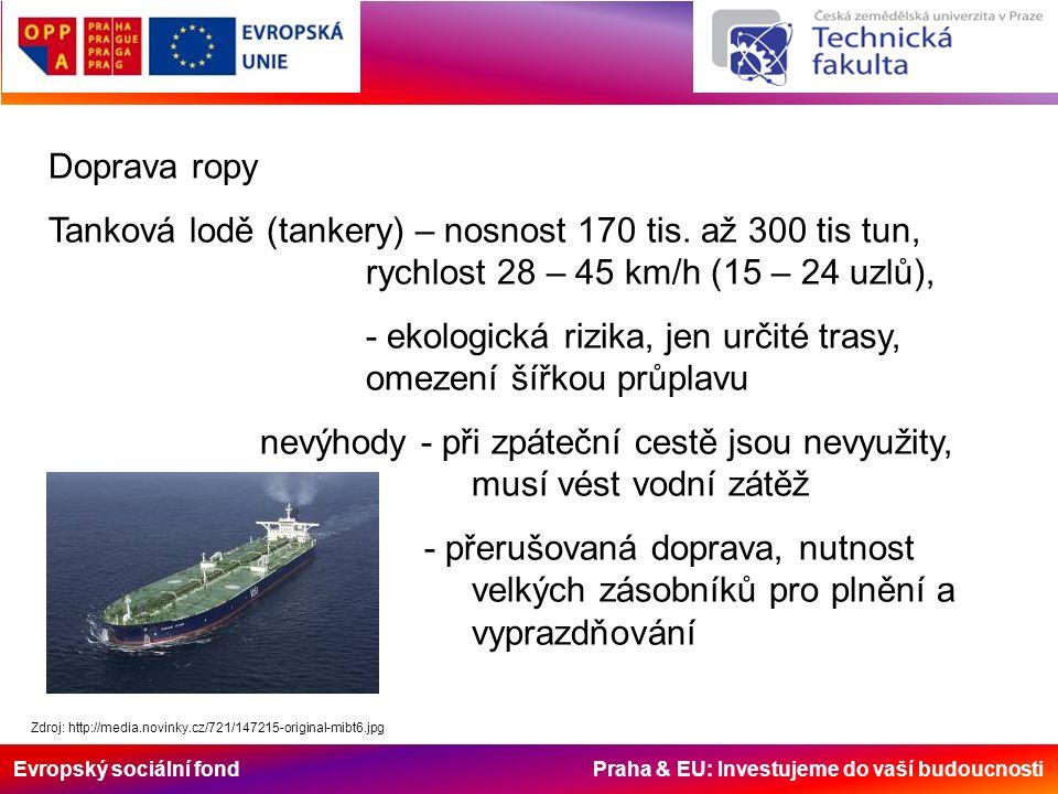 Evropský sociální fond Praha & EU: Investujeme do vaší budoucnosti Doprava ropy Tanková lodě (tankery) – nosnost 170 tis. až 300 tis tun, rychlost 28