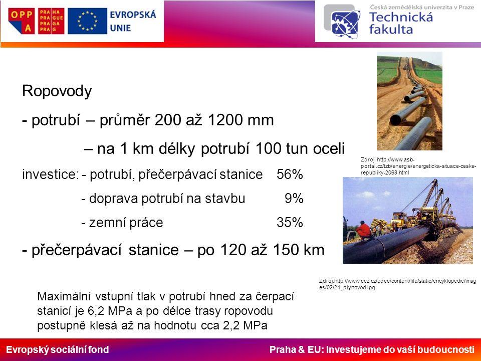 Evropský sociální fond Praha & EU: Investujeme do vaší budoucnosti Ropovody - potrubí – průměr 200 až 1200 mm – na 1 km délky potrubí 100 tun oceli in