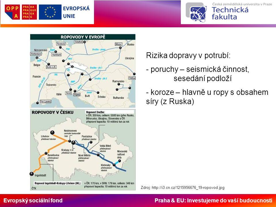 Evropský sociální fond Praha & EU: Investujeme do vaší budoucnosti Zdroj: http://i3.cn.cz/1215956676_19-ropovod.jpg Rizika dopravy v potrubí: - poruch