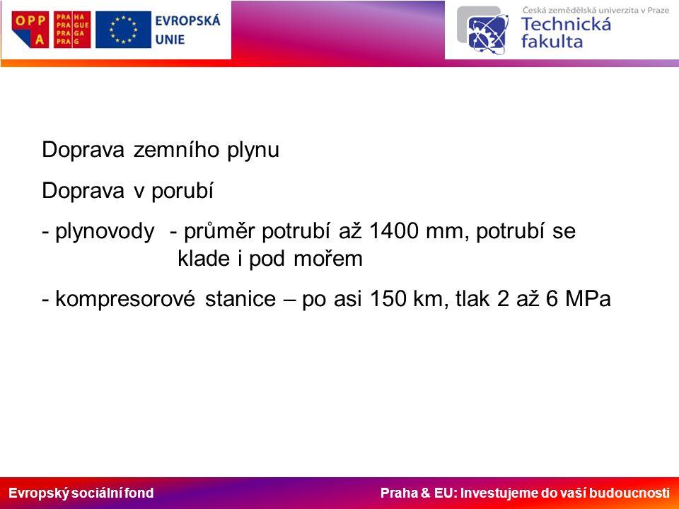 Evropský sociální fond Praha & EU: Investujeme do vaší budoucnosti Doprava zemního plynu Doprava v porubí - plynovody - průměr potrubí až 1400 mm, pot