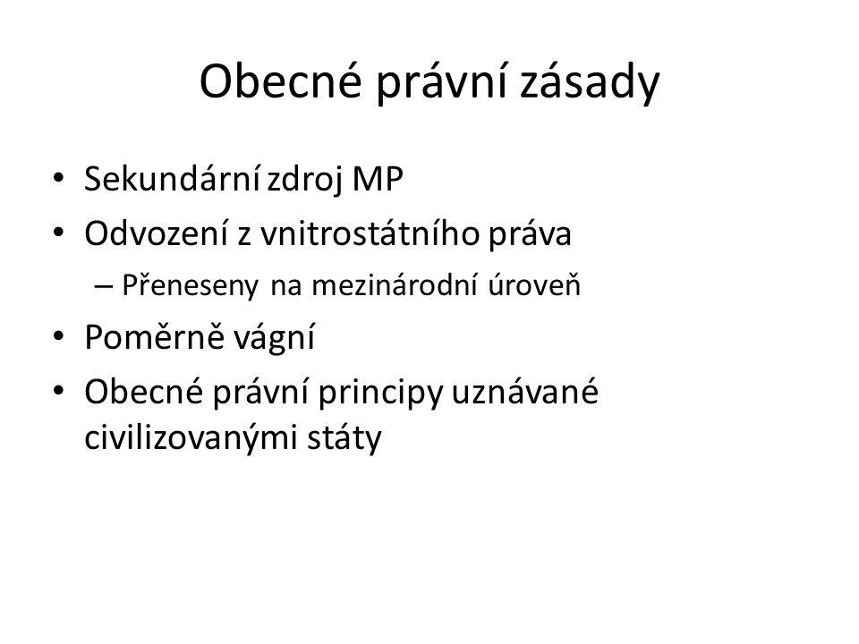 Obecné právní zásady Sekundární zdroj MP Odvození z vnitrostátního práva – Přeneseny na mezinárodní úroveň Poměrně vágní Obecné právní principy uznávané civilizovanými státy