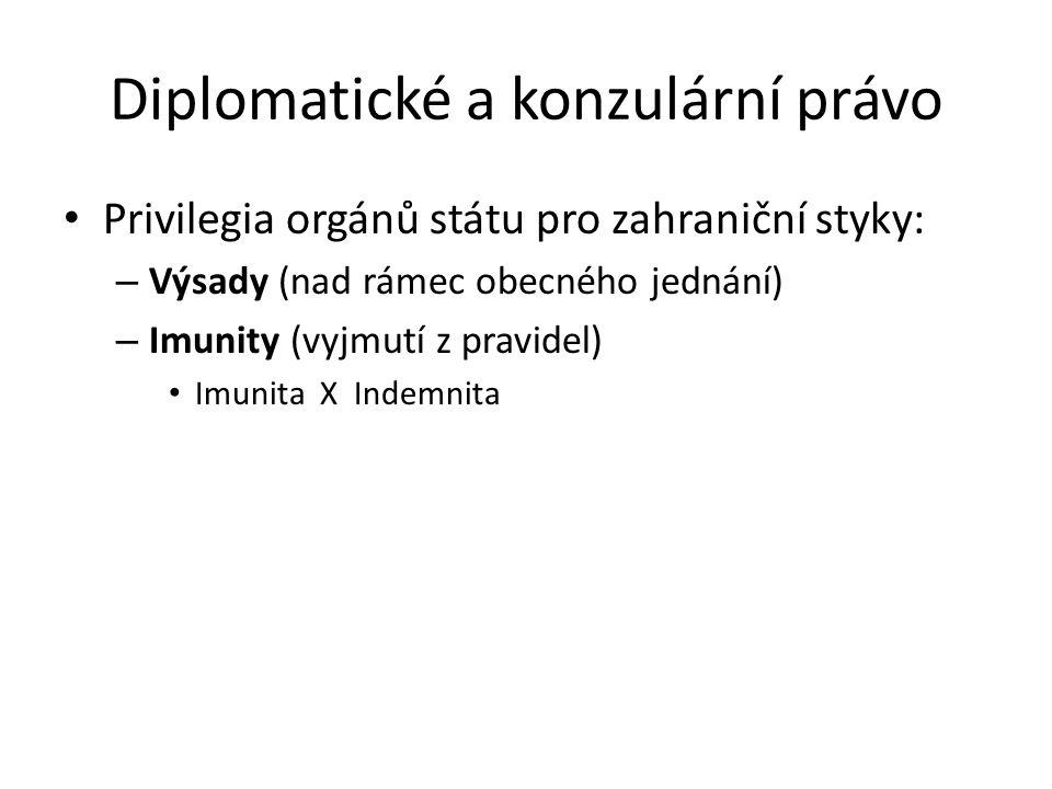 Diplomatické a konzulární právo Privilegia orgánů státu pro zahraniční styky: – Výsady (nad rámec obecného jednání) – Imunity (vyjmutí z pravidel) Imu
