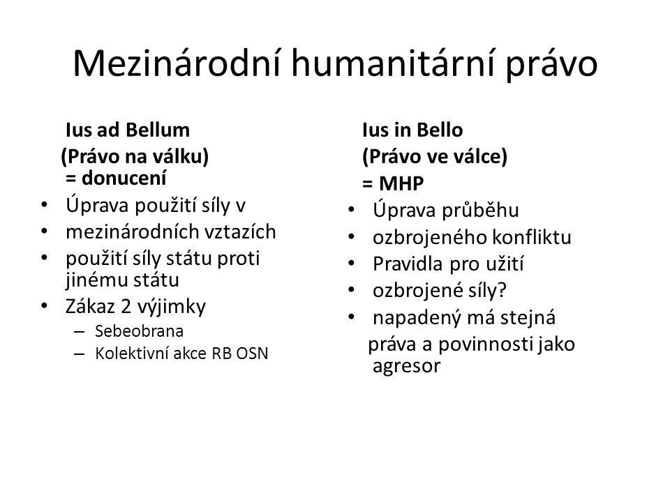 Mezinárodní humanitární právo Ius ad Bellum (Právo na válku) = donucení Úprava použití síly v mezinárodních vztazích použití síly státu proti jinému s