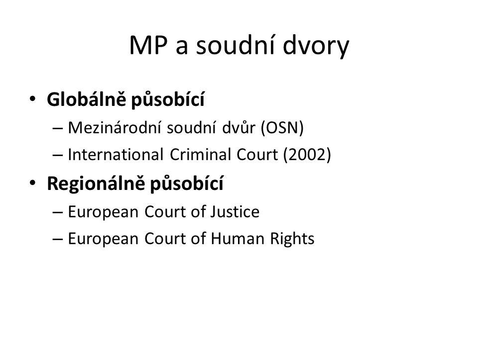 MP a soudní dvory Globálně působící – Mezinárodní soudní dvůr (OSN) – International Criminal Court (2002) Regionálně působící – European Court of Just
