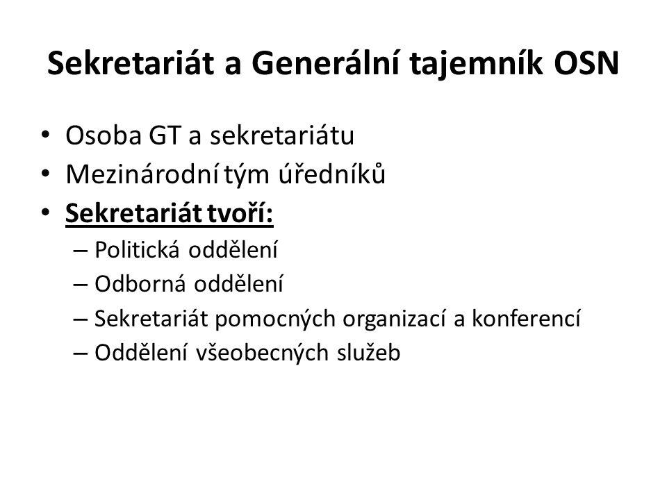 Sekretariát a Generální tajemník OSN Osoba GT a sekretariátu Mezinárodní tým úředníků Sekretariát tvoří: – Politická oddělení – Odborná oddělení – Sekretariát pomocných organizací a konferencí – Oddělení všeobecných služeb