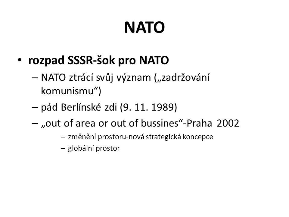 """NATO rozpad SSSR-šok pro NATO – NATO ztrácí svůj význam (""""zadržování komunismu"""") – pád Berlínské zdi (9. 11. 1989) – """"out of area or out of bussines""""-"""