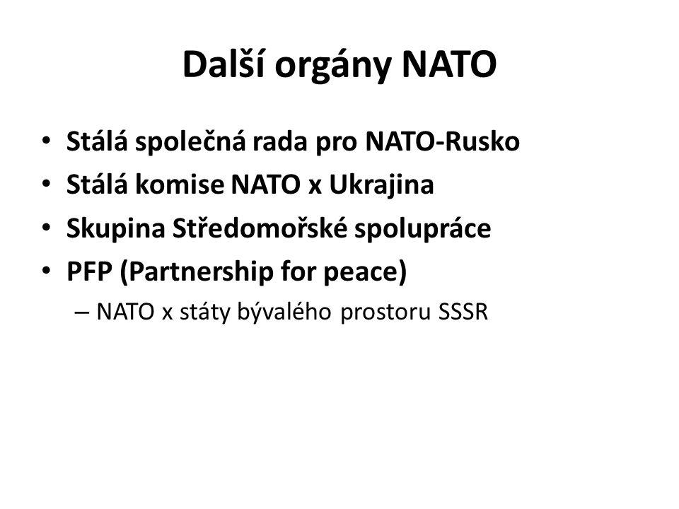 Další orgány NATO Stálá společná rada pro NATO-Rusko Stálá komise NATO x Ukrajina Skupina Středomořské spolupráce PFP (Partnership for peace) – NATO x státy bývalého prostoru SSSR