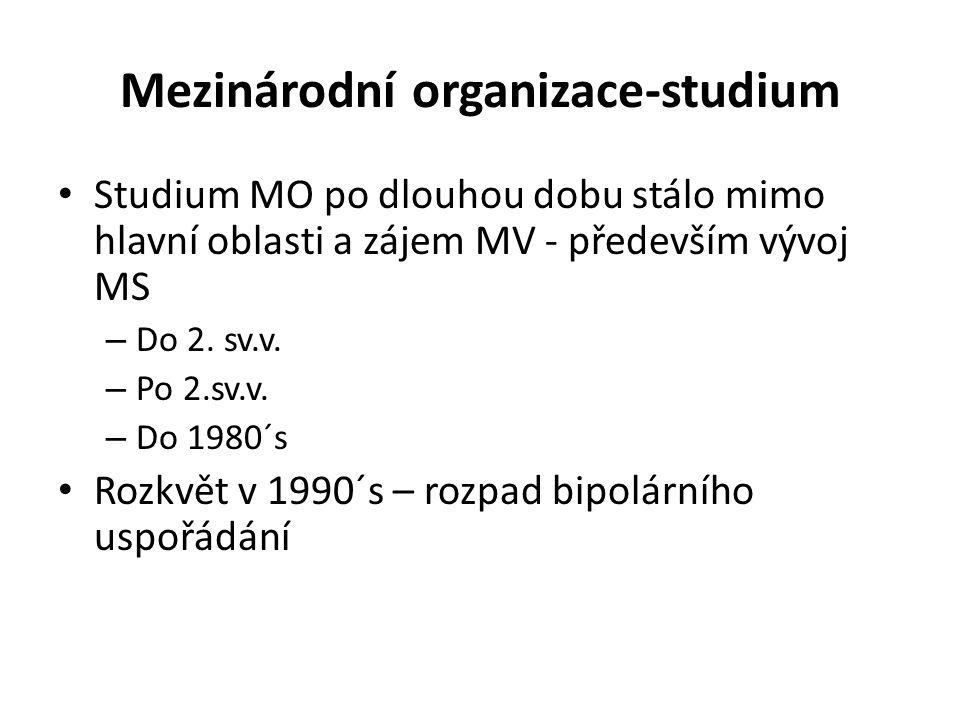 Mezinárodní organizace-studium Studium MO po dlouhou dobu stálo mimo hlavní oblasti a zájem MV - především vývoj MS – Do 2. sv.v. – Po 2.sv.v. – Do 19