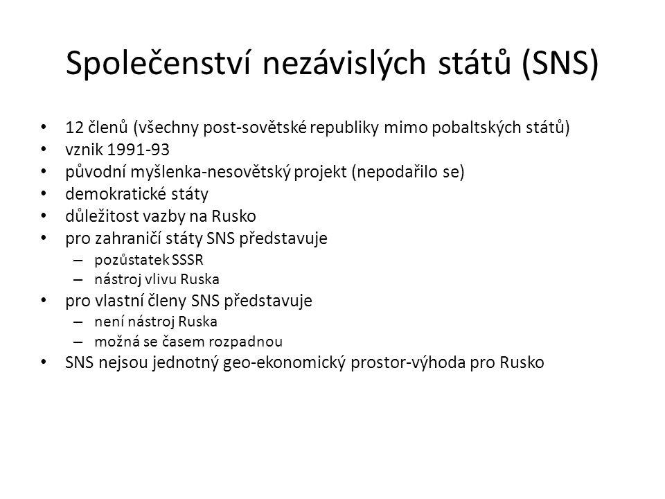 Společenství nezávislých států (SNS) 12 členů (všechny post-sovětské republiky mimo pobaltských států) vznik 1991-93 původní myšlenka-nesovětský proje