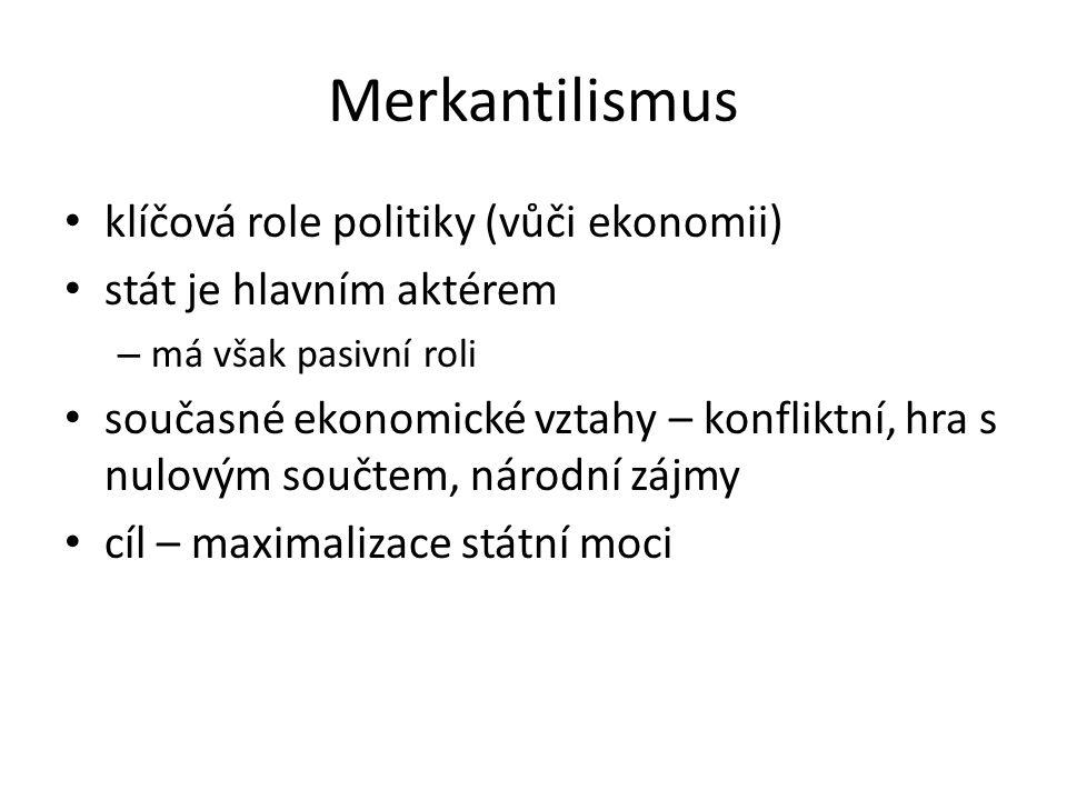 Merkantilismus klíčová role politiky (vůči ekonomii) stát je hlavním aktérem – má však pasivní roli současné ekonomické vztahy – konfliktní, hra s nulovým součtem, národní zájmy cíl – maximalizace státní moci