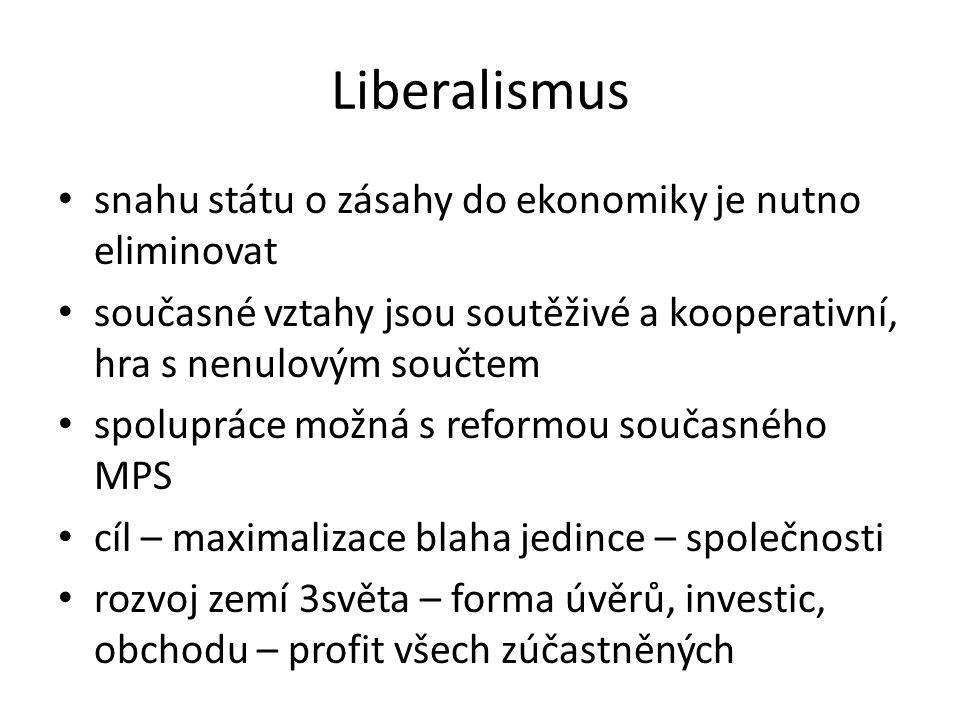 Liberalismus snahu státu o zásahy do ekonomiky je nutno eliminovat současné vztahy jsou soutěživé a kooperativní, hra s nenulovým součtem spolupráce možná s reformou současného MPS cíl – maximalizace blaha jedince – společnosti rozvoj zemí 3světa – forma úvěrů, investic, obchodu – profit všech zúčastněných