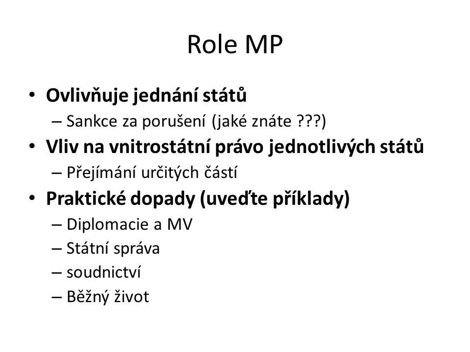 Role MP Ovlivňuje jednání států – Sankce za porušení (jaké znáte ???) Vliv na vnitrostátní právo jednotlivých států – Přejímání určitých částí Praktické dopady (uveďte příklady) – Diplomacie a MV – Státní správa – soudnictví – Běžný život