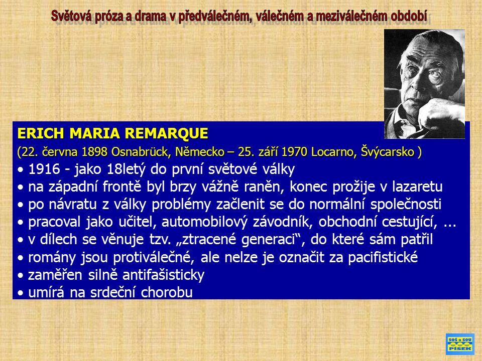 """DÍLO Erich Maria Remarque NA ZÁPADNÍ FRONTĚ KLID kniha je jeho první závažnější knihou, okamžitě vzbudila zájem na celém světě záměr knihy a částečně i obsah vyjadřuje její motto: """"Kniha je pokusem podat zprávu o generaci, která byla zničena válkou – i když unikla jejím granátům. vypravěč Baumer odpočívá za frontou (po návratu své jednotky z boje) a jiný voják vzpomíná na válečné zážitky."""