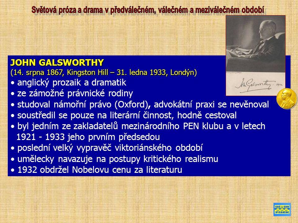 JOHN GALSWORTHY 14. srpna 1867, Kingston Hill – 31.