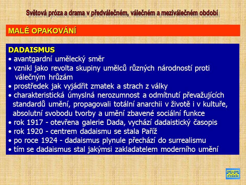 DADAISMUS avantgardní umělecký směr vznikl jako revolta skupiny umělců různých národností proti válečným hrůzám prostředek jak vyjádřit zmatek a strach z války charakteristická úmyslná nerozumnost a odmítnutí převažujících standardů umění, propagovali totální anarchii v životě i v kultuře, absolutní svobodu tvorby a umění zbavené sociální funkce rok 1917 - otevřena galerie Dada, vychází dadaistický časopis rok 1920 - centrem dadaismu se stala Paříž po roce 1924 - dadaismus plynule přechází do surrealismu tím se dadaismus stal jakýmsi zakladatelem moderního umění MALÉ OPAKOVÁNÍ
