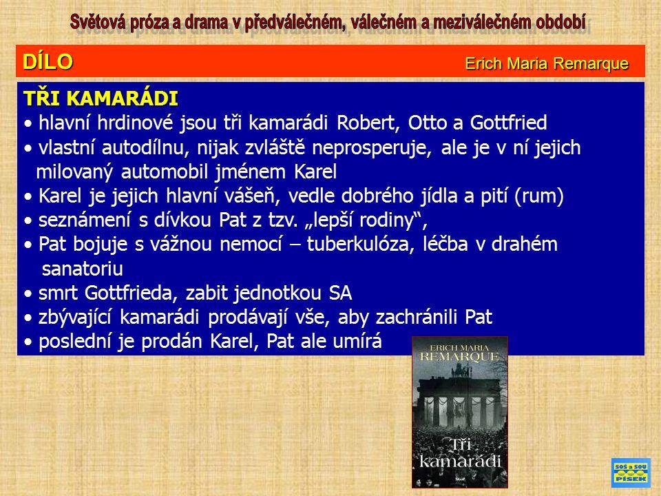 DÍLO Erich Maria Remarque ČERNÝ OBELISK děj románu se odehrává v Německu ve dvacátých letech 20.