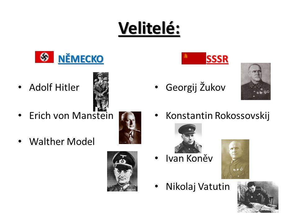 Velitelé: NĚMECKO Adolf Hitler Erich von Manstein Walther ModelSSSR Georgij Žukov Konstantin Rokossovskij Ivan Koněv Nikolaj Vatutin