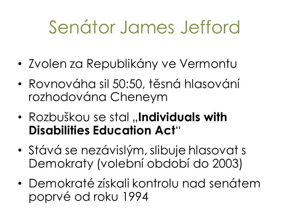 """Senátor James Jefford Zvolen za Republikány ve Vermontu Rovnováha sil 50:50, těsná hlasování rozhodována Cheneym Rozbuškou se stal """" Individuals with Disabilities Education Act Stává se nezávislým, slibuje hlasovat s Demokraty (volební období do 2003) Demokraté získali kontrolu nad senátem poprvé od roku 1994"""