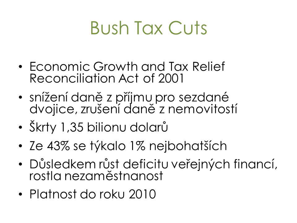 Bush Tax Cuts Economic Growth and Tax Relief Reconciliation Act of 2001 snížení daně z příjmu pro sezdané dvojice, zrušení daně z nemovitostí Škrty 1,35 bilionu dolarů Ze 43% se týkalo 1% nejbohatších Důsledkem růst deficitu veřejných financí, rostla nezaměstnanost Platnost do roku 2010