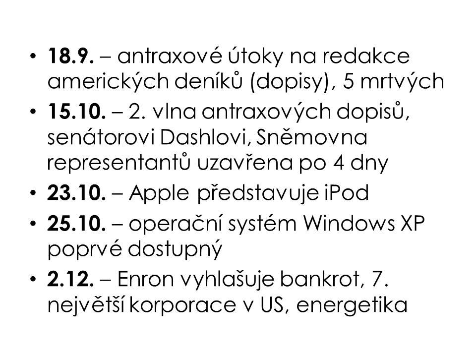 18.9. – antraxové útoky na redakce amerických deníků (dopisy), 5 mrtvých 15.10.