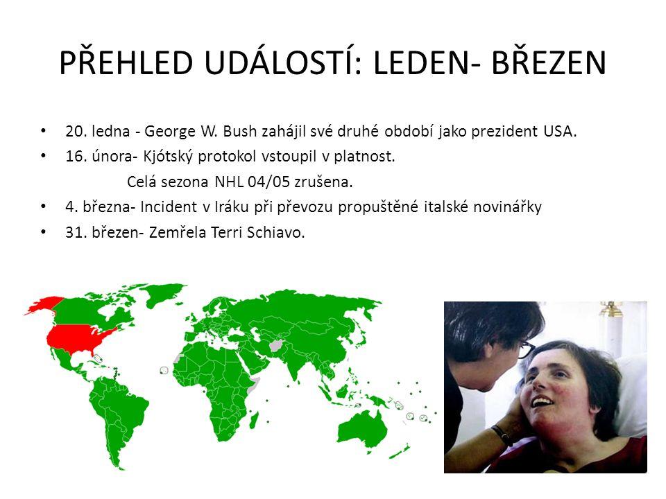 PŘEHLED UDÁLOSTÍ: LEDEN- BŘEZEN 20. ledna - George W. Bush zahájil své druhé období jako prezident USA. 16. února- Kjótský protokol vstoupil v platnos