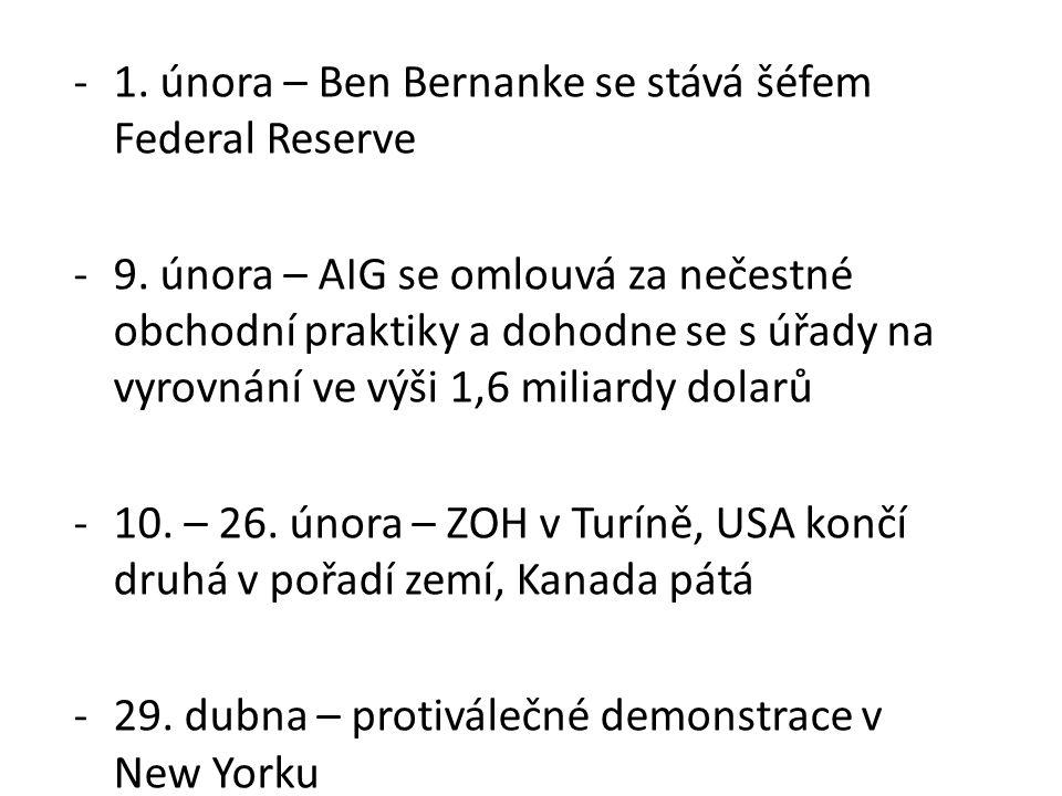 -1. února – Ben Bernanke se stává šéfem Federal Reserve -9. února – AIG se omlouvá za nečestné obchodní praktiky a dohodne se s úřady na vyrovnání ve